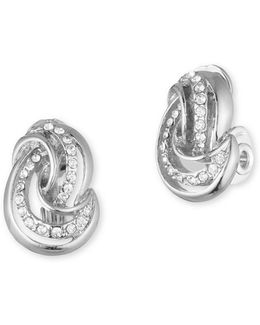 Silvertone Knot Clip-on Stud Earrings