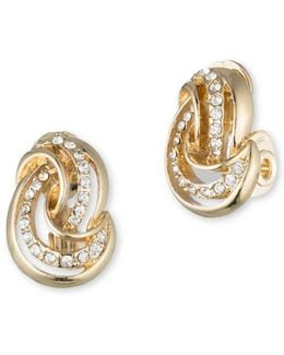 Pave Knot Clip-on Stud Earrings