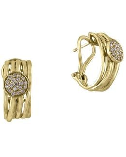 D Oro Diamond And 14k Yellow Gold Hoop Earrings