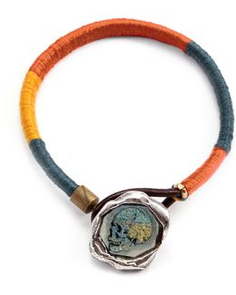 George Frost G. Frost Mapped Skull Wrapped Wax Seal Bracelet