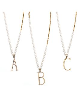 Plaza Letter Necklace - Pearl Chain