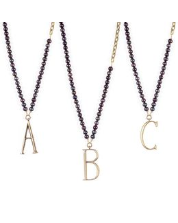 Plaza Letter Necklace - Black Pearl Chain