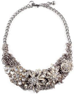 *vintage* Silvertone Collage Necklace