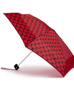 Red And Black Lips Grid Tiny Umbrella