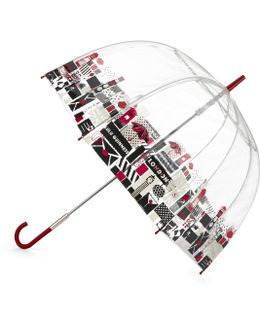 London Print Birdcage Umbrella