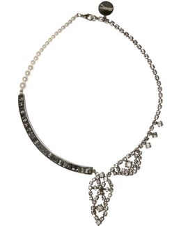 Crystal And Pearl Metal Plaque Necklace