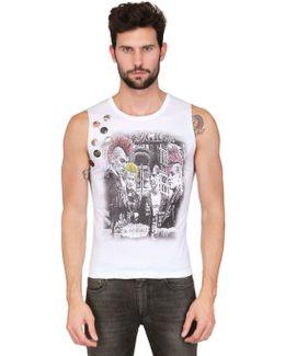 7 Pins Sleeveless Printed Jersey T-shirt