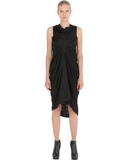 Gathered Wool Jersey Long Dress