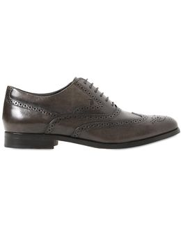 Brogued Leather Oxford Shoes