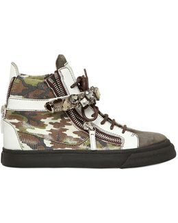 20mm Embossed Leather High Top Sneakers