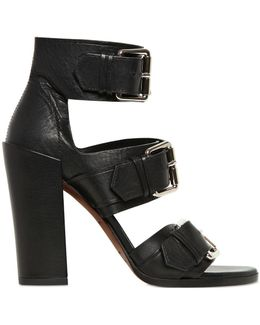100Mm Leather Belted Sandals