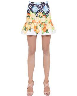 Printed Stretch Cotton Satin Skirt