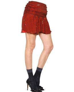 Striped Viscose Crepe Skirt