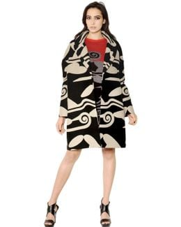 Printed Wool Cotton Blend Coat