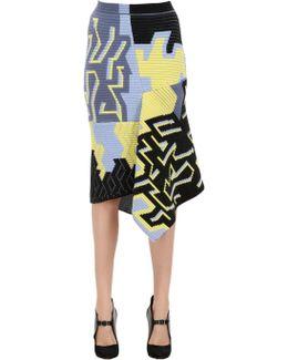 Wool Blend Ottoman Jacquard Skirt