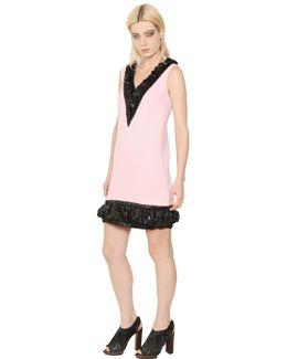 V Neck Wool Crepe Dress