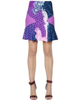 Ruffled Viscose Printed Skirt