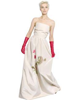 Floral Printed Cotton & Silk Dress