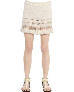 Cotton Knit Skirt With Tassel Trim
