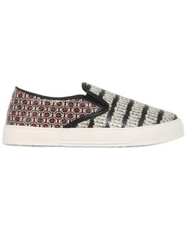 Snake Printed Leather Sneakers