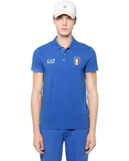 Italian Team Stretch Cotton Jersey Polo
