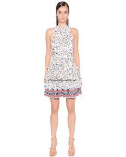Printed Pleated Techno Chiffon Dress