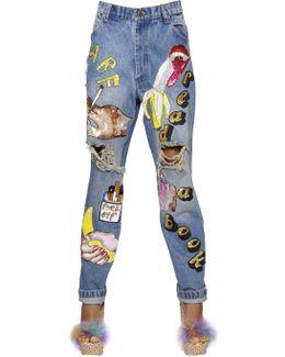 Embellished & Destroyed Denim Jeans