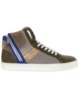 Leather & Papirok High Top Sneakers