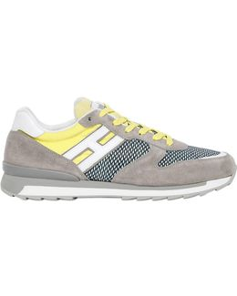 Nylon & Leather Running Sneakers