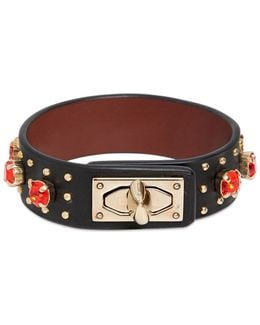 Leather Bracelet With Rhinestones
