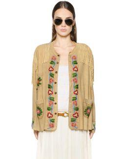 Bead-Embellished Fringed Suede Jacket