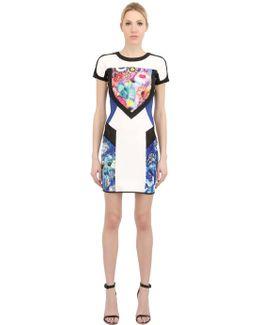 Floral Printed Scuba Jersey Dress