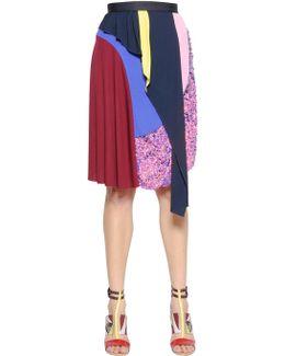 Layered & Embellished Viscose Knit Skirt
