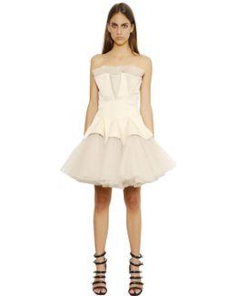 Strapless Tulle Godet Dress