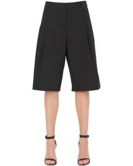 T Collection Cotton Blend Poplin Shorts