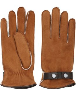 Shearling Gloves With Snap Button Strap