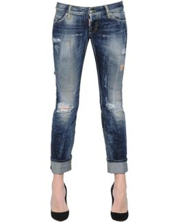 Sexy Washed & Patched Denim Jeans
