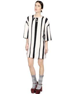 Embellished Striped Wool Dress