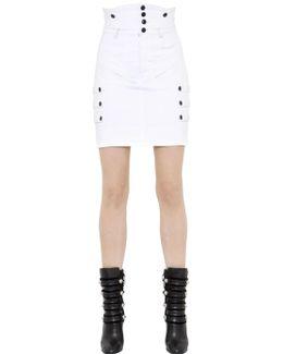 High Waisted Stretch Cotton Denim Skirt