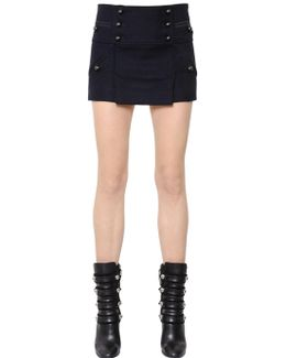 Button-up Wool Flannel Skirt