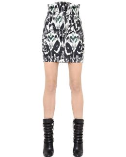 Printed Stretch Cotton Denim Skirt