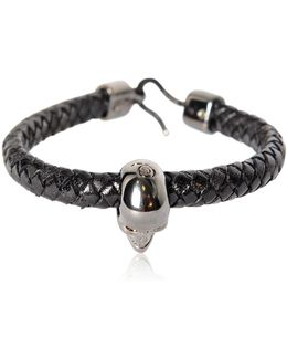 Skull Woven Leather Bracelet