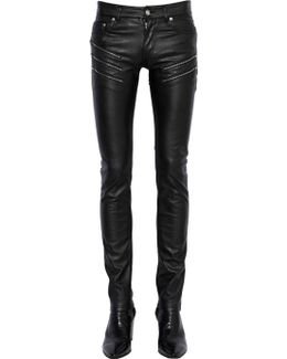 15cm Zip Stretch Faux Leather Jeans