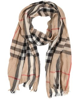 Check Printed Wool & Cashmere Scarf