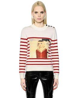 Stripe Printed Merino Wool Sweater