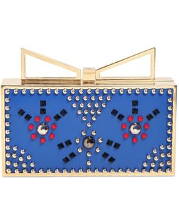 Lady Me Studded Cat Leather Clutch