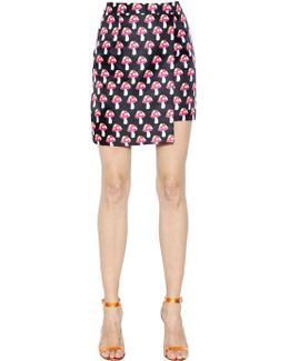 Mushroom Printed Techno Twill Mini Skirt