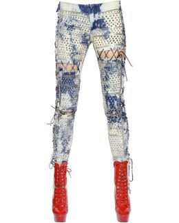 Lace-up Washed & Studded Denim Jeans