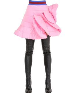 Ruffled Quilted Satin Skirt