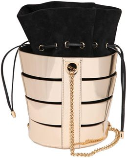 Cutout Metallic Nappa Bucket Bag